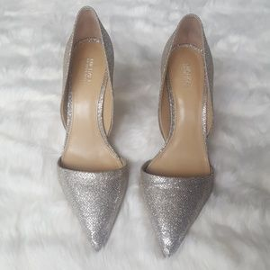 Michael Kors silver sparkly pumps